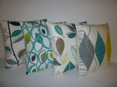 """PAIR Teal Blue Green Gray Pillow Cushion Covers 4 CHOICES Mix Match Designer Throws Slips 16"""" (40cm) by WickedWalls on Etsy https://www.etsy.com/listing/98998046/pair-teal-blue-green-gray-pillow-cushion"""