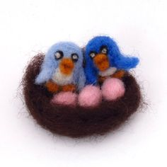 Needle felted birds in nest  Felt Valentines by drudruchu on Etsy, $9.50