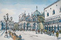 Impresión de un acuarela original de arte de Venecia por AndreVoyy