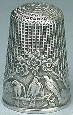 "Antique French Sterling Silver Fable Thimble ""Three Birds on a Branch"" design, ca. 1900, ""thought to be the work of designer Firmin-Pierre Lasserre."" Mint Condition. US$363.89; 19 bids, starting at US$9.00. 1 June 2009."