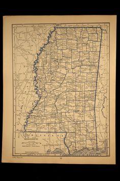 Map Mississippi State 1930 Vintage Original