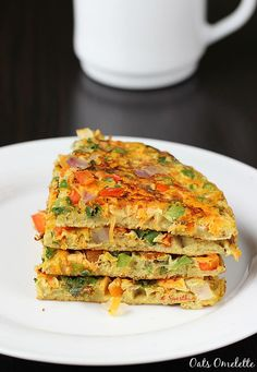 Oats egg omelette - Quick and easy 10 mins oats recipe for breakfast. Oatmeal is one of the healthiest and can be added to the diet in many ways Healthy Filling Snacks, Quick Snacks, Healthy Eating, Oats Recipes Indian, Egg Omelette Recipe, Breakfast Omelette, Cooking Recipes, Healthy Recipes, Flour Recipes