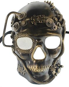 "Made of Hard Plastic Mask Is about 9 1/4"" Tall and 7 1/2\"" Wide Stream Punk Style Perfect for Any Masquerade Ball or Venetian Party Fits Most Adults"