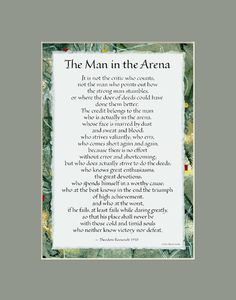 The Man in the Arena calligraphy print, Theodore Roosevelt, it is not the critic who counts, inspirational quote, words to live by