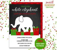 White Elephant Invitation Vintage Christmas by GreenCherryFactory