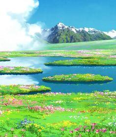 Submission to & Free Studio Ghibli Wallpapers Miyazaki Anime& Art Studio Ghibli, Fantasy Landscape, Landscape Art, Studio Ghibli Background, Howl's Moving Castle, Howls Moving Castle Wallpaper, Casa Anime, Scenery Wallpaper, Trendy Wallpaper