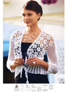 Crochet jacket PATTERN, exquisite design, wedding crochet jacket pattern, detailed description for every row, party crochet jacket pattern.