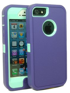 Amazon.com: Iphone 5 Body Armor Case Purple on Baby Blue Teal Comparable to Otterbox Defender Series + Bonus Cube Charger and Breast Cancer ...