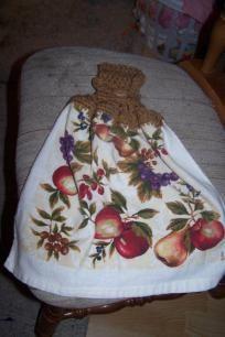 "Hand Crocheted hanging dishtowel, ""Fruit of the Word""."
