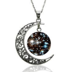 Galactic cosmic moon necklace vintage, glass cabochon yourself, chain necklace jewelry women  This necklace is a perfect gift for those who enjoy