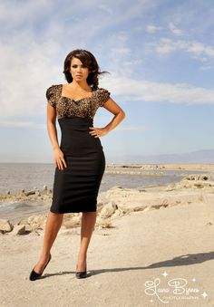 Mary Ann Dress in Black and Leopard