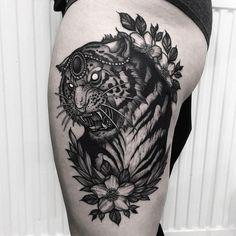 Tiger thigh piece for Julia. Thanks Julia Tiger Tattoo Thigh, Cat Tattoo, Tattoo Drawings, Body Art Tattoos, Sleeve Tattoos, Cool Tattoos, Sketch Style, Birthday Tattoo, Rabbit Tattoos