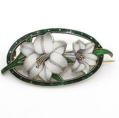 Sterling and enamel lily brooch, Norway