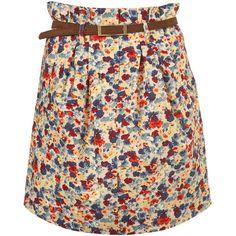 Printed Papaerbag Waist (775 MXN) ❤ liked on Polyvore featuring skirts, mini skirts, bottoms, saias, faldas, women, floral cotton skirt, floral skirt, floral print skirt and flower print skirt