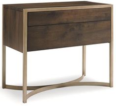 Metal and wood contemporary nightstand from Louis J Solomon