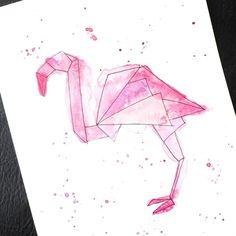 origami style flamingo print