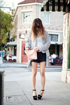 Lousy sweater, sheer, lace shorts and chunky heels. Awesome.