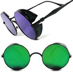 Green Revo Lens Vintage Vampire Goth Steampunk Side Shields Round Sunglasses A2 #KISS #Round