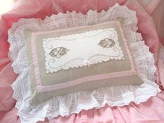 vintage linen and lace pillow with pink velvet ribbon