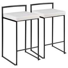 Lumisource Fuji 26 in. Black Stackable Counter Stool with White Mohair Cushion (Set of 2)