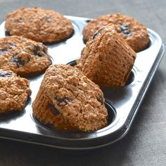 Simple & delicious Vegan Blueberry Bran Muffins that are packed full of healthy ingredients. Only 140 calories each, whole grain, oil & refined-sugar free!