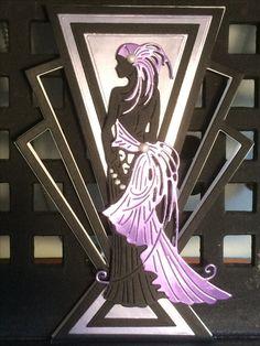 Cricut Birthday Cards, Art Deco Cards, Casual Art, Tattered Lace Cards, Lace Art, Art Deco Chandelier, 1920s Art, Fancy Fold Cards, Heartfelt Creations