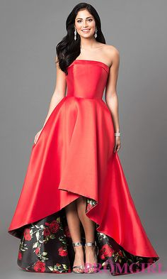 Strapless Prom Dress with High Low Hem