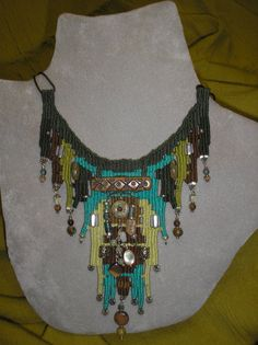 Collage of Beads Woven Necklace 728 by avidweaver on Etsy