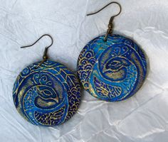 Painted jewelry-Painted wood earrings-Feather by DecorElegancy