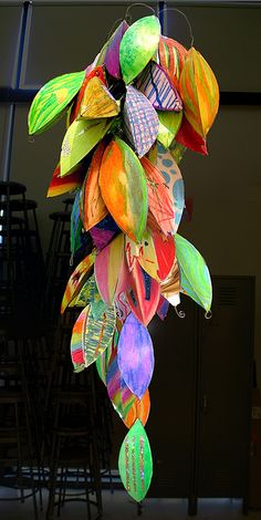 Each student created 2 or 3 paper and oil pastel tridimensional pieces based on a template a created. After each pieces was assembled, I put them together in a Racimo (a banana bunch!), a hanging art piece. Group Art Projects, Collaborative Art Projects, Middle School Art, Art School, High School, Dac Diy, Community Art, Community College, Classroom Community