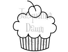 Digital Stamp - Cupcake with Cherry on top