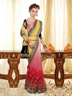 Yellow And Pink Banarasi Jacquard Saree With Resham Embroidery Work