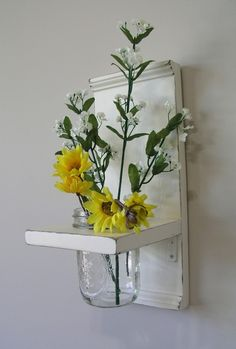 Wall vase with mason jar for bathroom wall. (White or yellow)