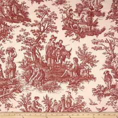 Waverly Country Life Toile Garnet from @fabricdotcom  Screen printed on cotton duck; this versatile medium weight fabric is perfect for window accents (draperies, valances, curtains and swags), accent pillows, duvet covers and upholstery. Create handbags, tote bags, aprons and more. Colors include red and ivory.