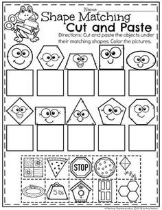 Shape Matching Cut and Paste Worksheets for Kindergarten.Shape Matching Cut and Paste Worksheets for Kindergarten.Worksheets Shape Matching Cut and Paste Worksheets for Kindergarten.Shape Matching Cut and Paste Worksheets for Kindergarten. Shape Activities Kindergarten, Kindergarten Lesson Plans, Preschool Learning, Kindergarten Worksheets, Homeschool Kindergarten, Shape Worksheets For Preschool, Preschool Shapes, Cut And Paste Worksheets, Worksheets