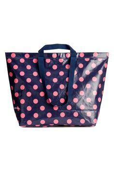 Grote shopper - Donkerblauw/roze stippen - DAMES | H&M NL 1