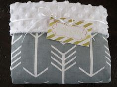 Arrow Baby Blanket-White Minky Blanket, Grey Baby Blanket with White Arrows, Tribal Theme