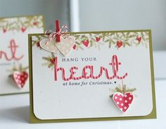 Make It Monday #90: Creating Focal Point Sentiments with Stamps & Dies - Hang Your Heart Card by Betsy Veldman