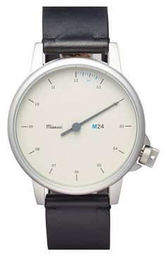 Miansai 'M24' Round Leather Strap Watch, 39mm available at #Nordstrom