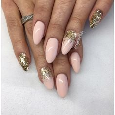 Nude almond nails with gold glitter ombré