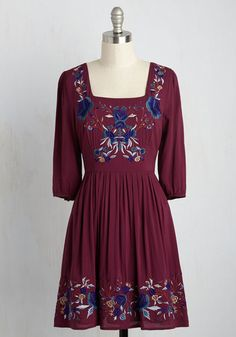 Blue Skies for Me Dress - Red, Blue, Solid, Embroidery, Work, Casual, Daytime…