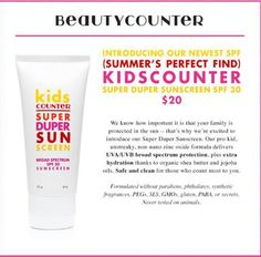 Beautycounter's safe sunscreen for kids! Gluten-free and nut-free Healthy Beauty, Health And Beauty, Safe Cosmetics, Best Sunscreens, Safe Cleaning Products, Thing 1, The More You Know, Beauty Industry, Nut Free