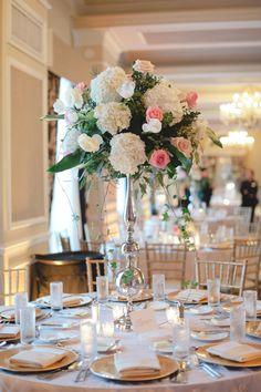 White hydrangea, pink roses tall centerpiece by Botanica (http://botanicaflorist.com)  Don CeSar Grand Ballroom Wedding - White and Pink Wedding   Photography by: http://www.dlweddings.com/