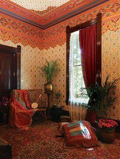 Victorian Orientalist wallpaper by Bradbury. Sooooo gorgeous!