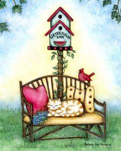 birdhouse an bench Barbara Ann Kenney