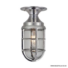 "Vintage Marine Cage Bulkhead Flush Mount Light £89 Shade diameter: 10cm/ 4"" Height of bulb fitting: 22.5cm/9"" Length of pole is adjustable - 2 options: 60cm/24"" or 42cm/16.5"" IP 44 rated Standard screw E27 - not included, max 60W, 220V-240V"