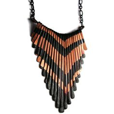 Copper fringe Necklace - Small V Pattern Fringe Necklace - Lion Fish Design II - handmade copper jewelry
