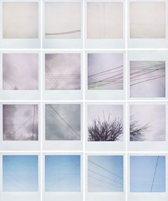 Erin Curry's polaroids  I would just split a large photo into sections and separate them...