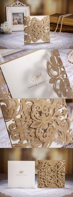 When it comes to invitations you want to stand out and make them memorable. Some intricate lace cut-outs may do the thing! Crisp and clean cards fit perfectly inside a detailed trifold laser cut holder.  With so many patterns and designs, you may find one to match your dress!