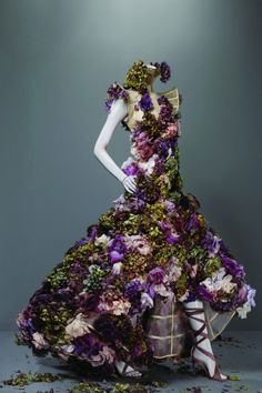 """Dress, Sarabande, spring/summer 2007  """"Remember Sam Taylor-Wood's dying fruit? Things rot…I used flowers because they die. My mood was darkly romantic at the time."""" Lee Alexander McQueen"""